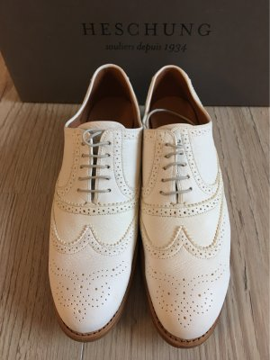 Heschung Wingtip Shoes natural white leather
