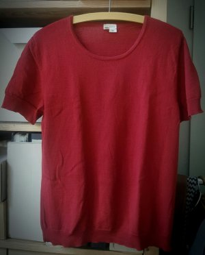 Hess Natur Short Sleeve Sweater dark red wool