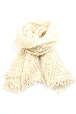 Hess Natur Bufanda de lana crema Detalles trenzados