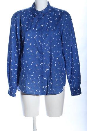 hessnatur Langarm-Bluse blau-weiß Punktemuster Casual-Look