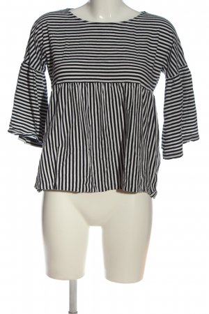 hessnatur Langarm-Bluse schwarz-weiß Allover-Druck Casual-Look