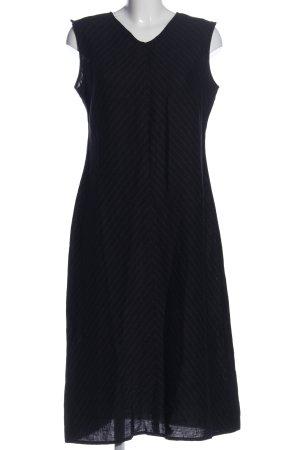 hessnatur Midikleid schwarz-hellgrau Streifenmuster Elegant