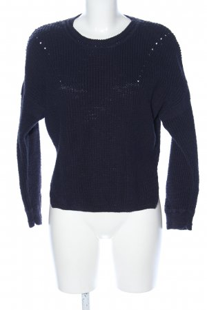 hessnatur Oversized Pullover blau Zopfmuster Casual-Look