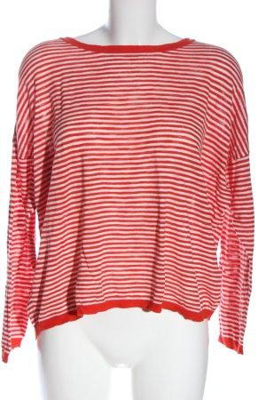 hessnatur Rundhalspullover weiß-rot Streifenmuster Elegant