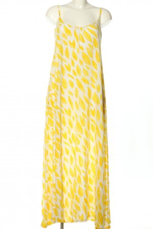 hessnatur Trägerkleid weiß-blassgelb abstraktes Muster Casual-Look