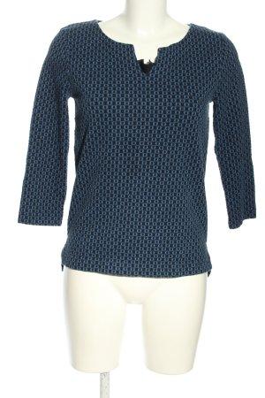 hessnatur V-Ausschnitt-Pullover blau-schwarz Allover-Druck Casual-Look