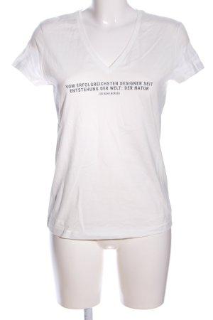 hessnatur V-Ausschnitt-Shirt weiß Schriftzug gedruckt Casual-Look