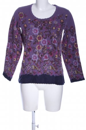 hessnatur Wollpullover lila Allover-Druck Casual-Look