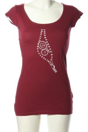 Hi 5 T-Shirt rot-weiß Schriftzug gedruckt Casual-Look