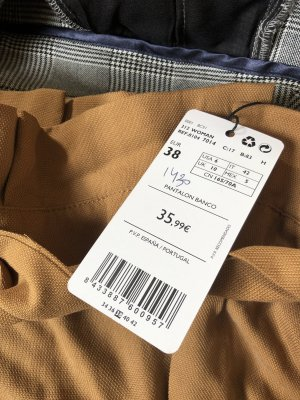 22 Maggio Pantalón de cintura alta beige Algodón