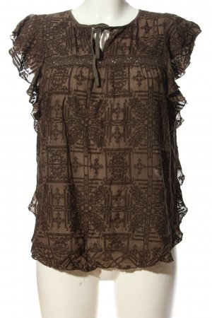 hiche Ruffled Blouse brown allover print business style
