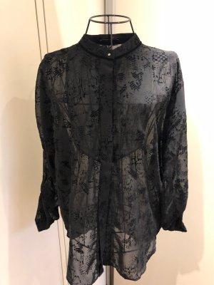 HIGH Bluse Transparent Schwarz mit Samt