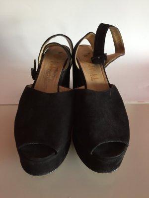 Sandalias de tacón con plataforma negro