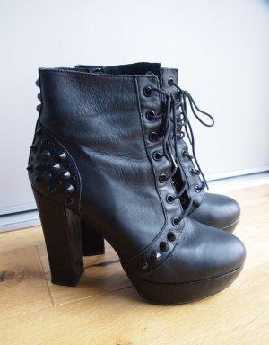 High Heel Plateau-Stiefeletten Schnür-Stiefeletten Boots mit Nieten schwarz Leder