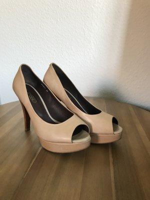 0039 Italy Hoge hakken sandalen veelkleurig Leer