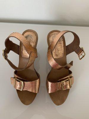 High Heel Sandaletten in Rosé Gold made in Spain Gr. 37