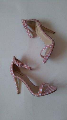 High Heel Sandaletten justfab Gr. 39 nude weiß gepunktet