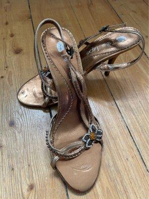 High Heel Sandaletten mit Swarovski Steinen Gold Gr.40 /  US Gr.9 nur einmal getragen