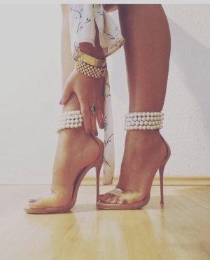 High Heel sandaletten perlen rose