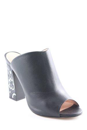 High Heel Sandaletten schwarz Logo-Applikation aus Metall