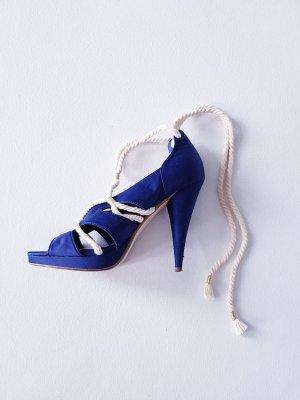 High Heel Schnür Sandaletten Marine Style