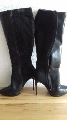 Even & Odd Wysokie buty na obcasie czarny Skóra