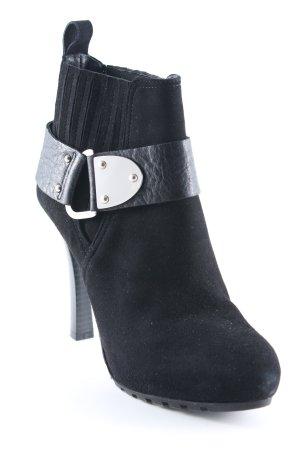 High Heel Stiefel schwarz-silberfarben Party-Look