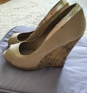 Funky Shoes Escarpin compensé doré-beige