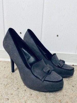 High Heels, Anthrazit mit Schleife