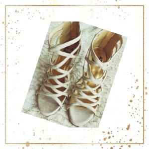 High Heels Creme/Beige mit Goldschimmer ungetragen
