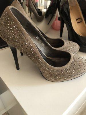High Heels Gr. 38 taupe Schuhe, mit Funkelnden Nieten