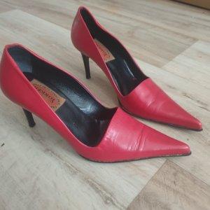 High Heels Gr. 38 Vintage Vero cuoio echt  Leder rot 90er