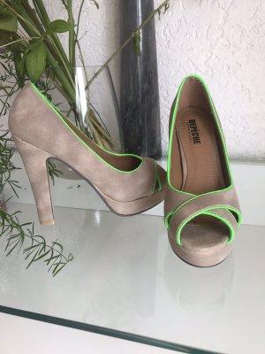 Depeche Tacco alto marrone-grigio-verde neon
