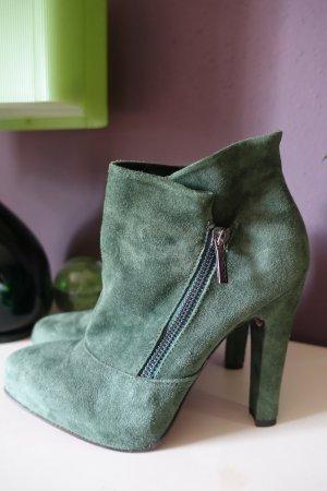 High Heels, hohe Schuhe, Geox Respira, grün, Leder, Ankle Boots, ungetragen
