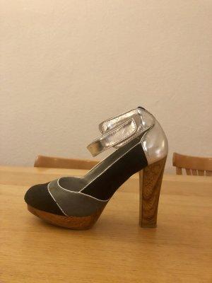 High heels mit Holzoptik Absatz