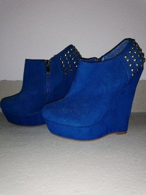 Belle Women Bottine à talon compensé bleu