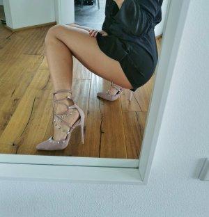 High Heels mit Nieten und Schnüren Rosé
