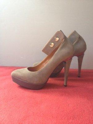 High Heels mit Plateau, Grau, Stiletto, Luxus, Disco, Sexy, Disco, Abendschuhe, Gr. 39