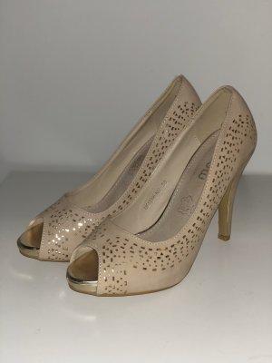 High heels nude-gold Peeptoes 39