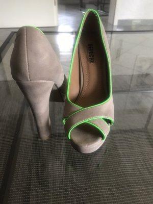 Depeche High Heels grey brown-neon green