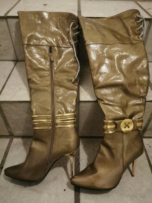 High Heels Overknee Stiefel in Gold von Loreinxy Paris