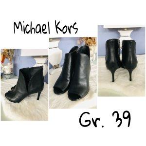 Michael Kors Peep Toe Booties black leather