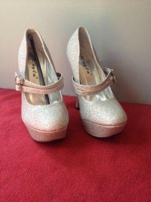 High Heels, Plateau, Silber, Glitzer, Riemchen, Luxus, Disco, Gr. 39