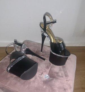 Sandalias con plataforma negro-color plata