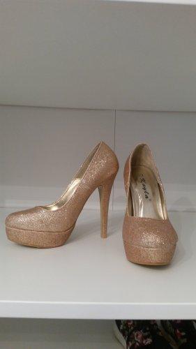 High Heels Pumps Glitzer Gold Gr. 37