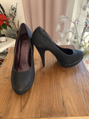 High Heels .. Pumps .. Glitzer .. schwarz .. Gr. 39 # Bella Woman # Plateau ..