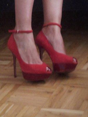 High heels ROT Gr. 40 Zara Plateau Pumps Knöchel Riemen Stilleto 10cm Absatz