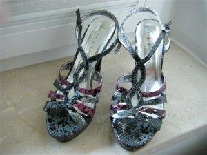 High heels Sandalette Plateausohle Schlangenlederoptik