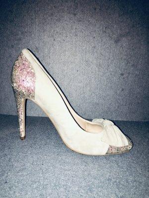 High Heels Schleife Glamour Beige Grau Glitzer