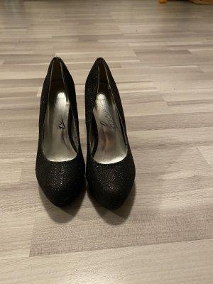 High Heels schwarz mit Glitzer